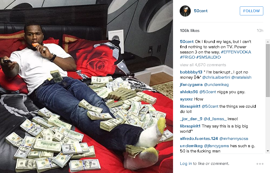 50 cent chilling with cash