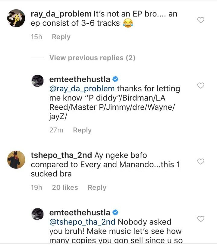 Emtee Says He Has The Best SA Hip Hop Album And Some Fans Disagree - See How He Reacted 3