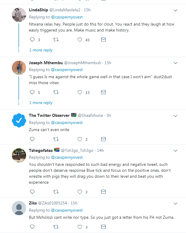 Black Twitter React To Cassper Nyovest Claiming Jacob Zuma Wrote Him A Letter 7