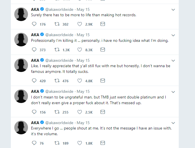 AKA's Latest Tweets Might Be An Indication Of Depression 3