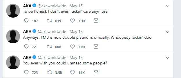 AKA's Latest Tweets Might Be An Indication Of Depression 2