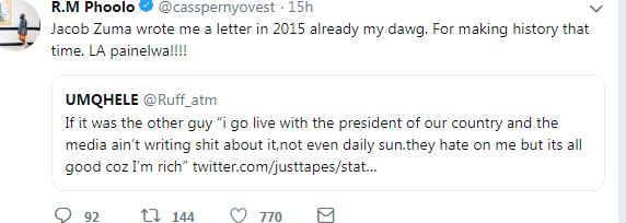 Black Twitter React To Cassper Nyovest Claiming Jacob Zuma Wrote Him A Letter 2