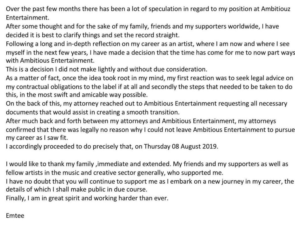 Emtee Releases A Statement Announcing His Departure From Record Label Ambitiouz Entertainment 2